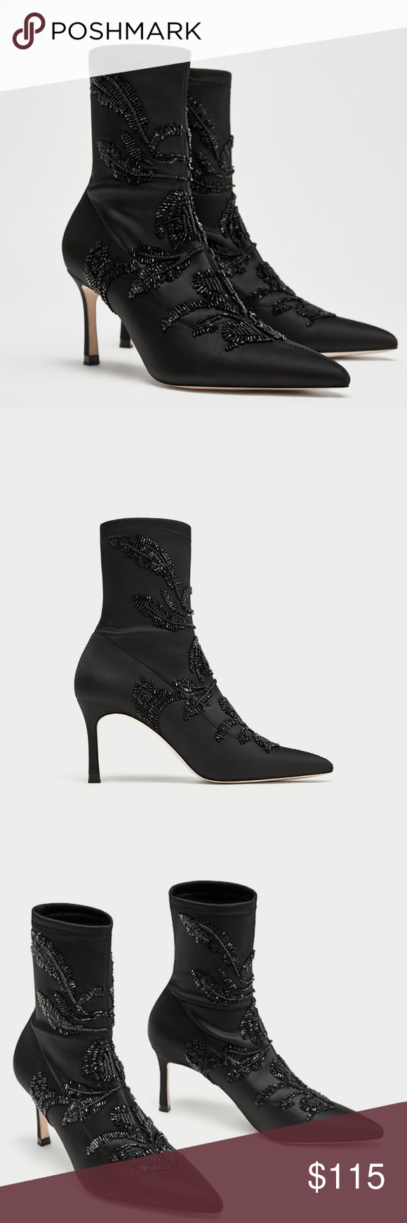62d5022f798 Zara embroidered satin high heel ankle boots Black satin high-heeled ankle  boots. Embroidered beading detail on the upper. Stiletto heels. Pointed  toes.