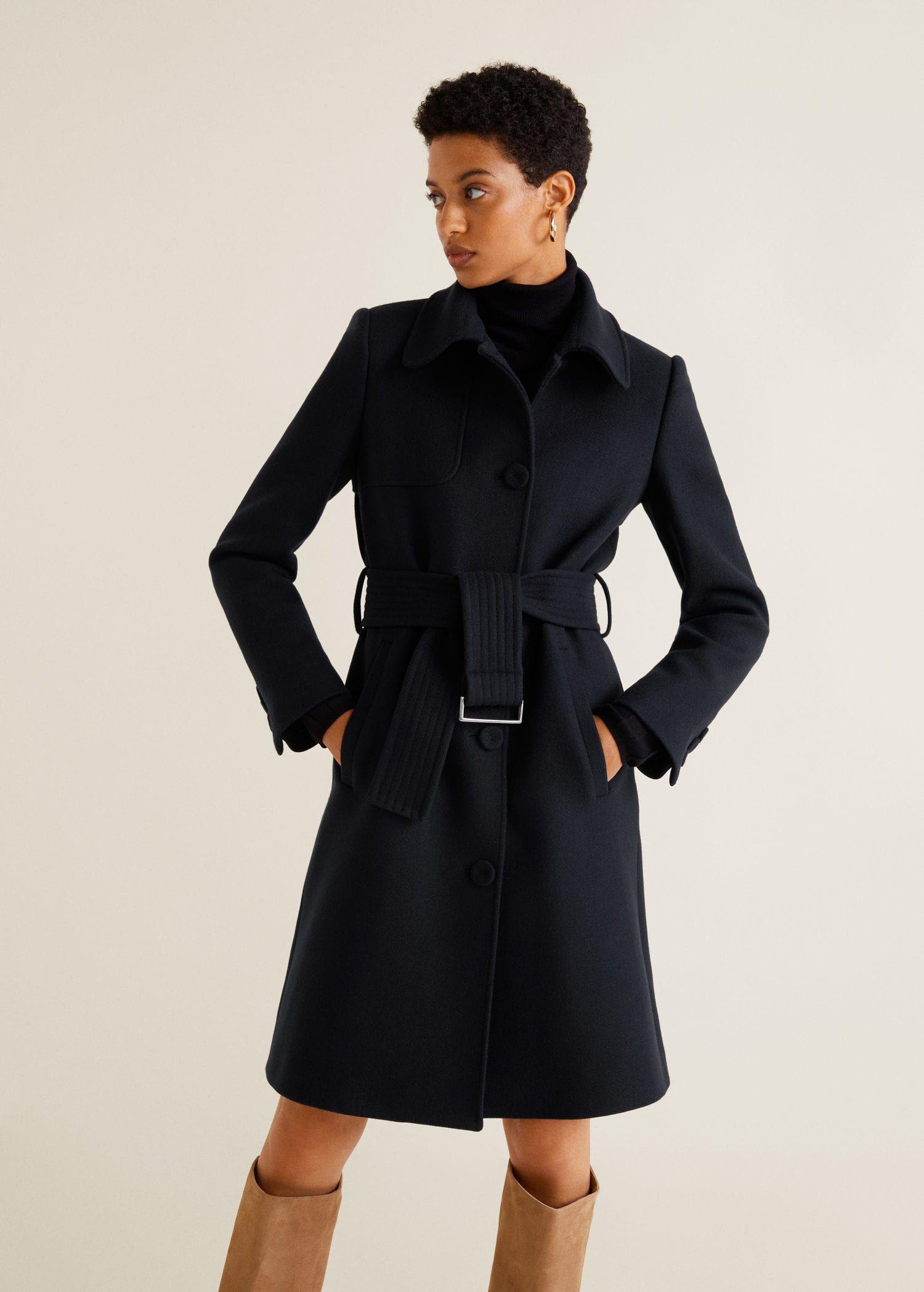 66617f4a5c5c6 MANGO CAMEL Manteau en laine avec ceinture Bleu Marine pas cher prix Manteau  Femme Mango 149.99 € TTC. #Mango #ManteauMango #modefemme #ManteauFemme  #Iziva ...