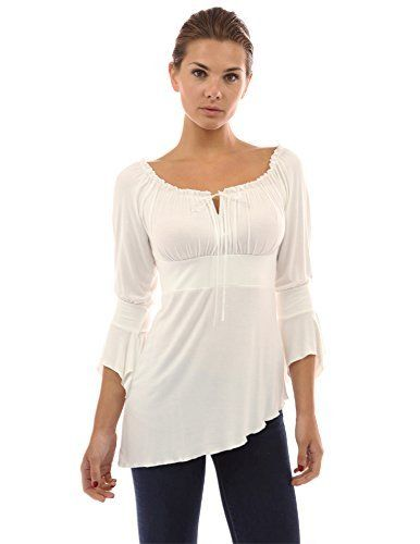 d539d587f8bb47 PattyBoutik Cute Off Shoulder Bell Sleeve Blouse TopIvorySmall *** For more  information, visit image link.