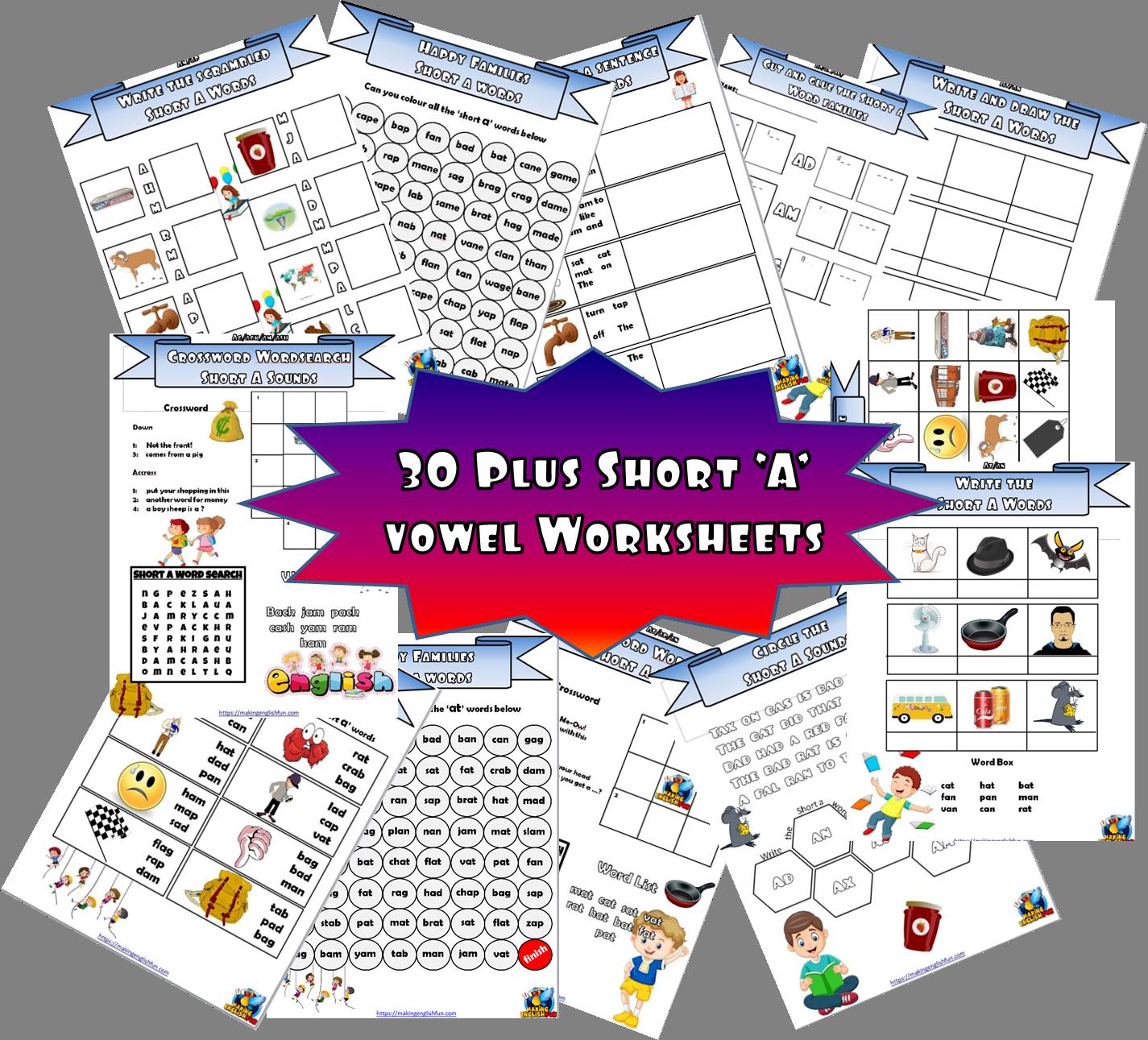 Short A Cvc 30 Worksheets