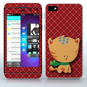 Cold Outside Yellow cat in scarf phone skin sticker for Cell Phones / Blackberry Z10   $7.95