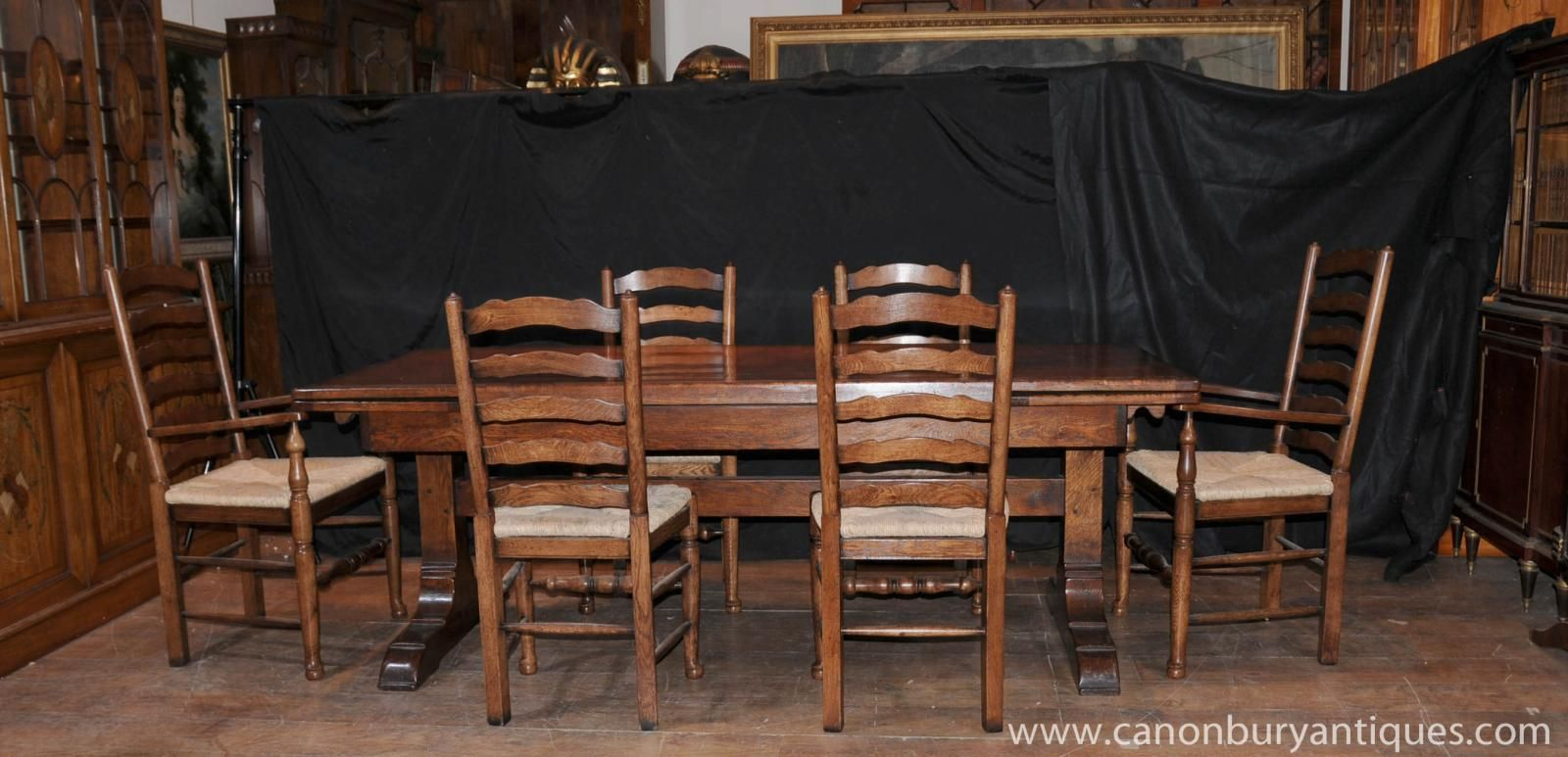 Farmhouse Kitchen Dining Set Refectory Table Ladderback Chairs