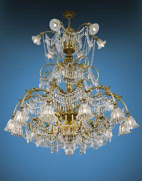 Antique Chandeliers, Baccarat Crystal, Art Deco Baccarat Chandelier ~ M.S. Rau Antiques circa 1920