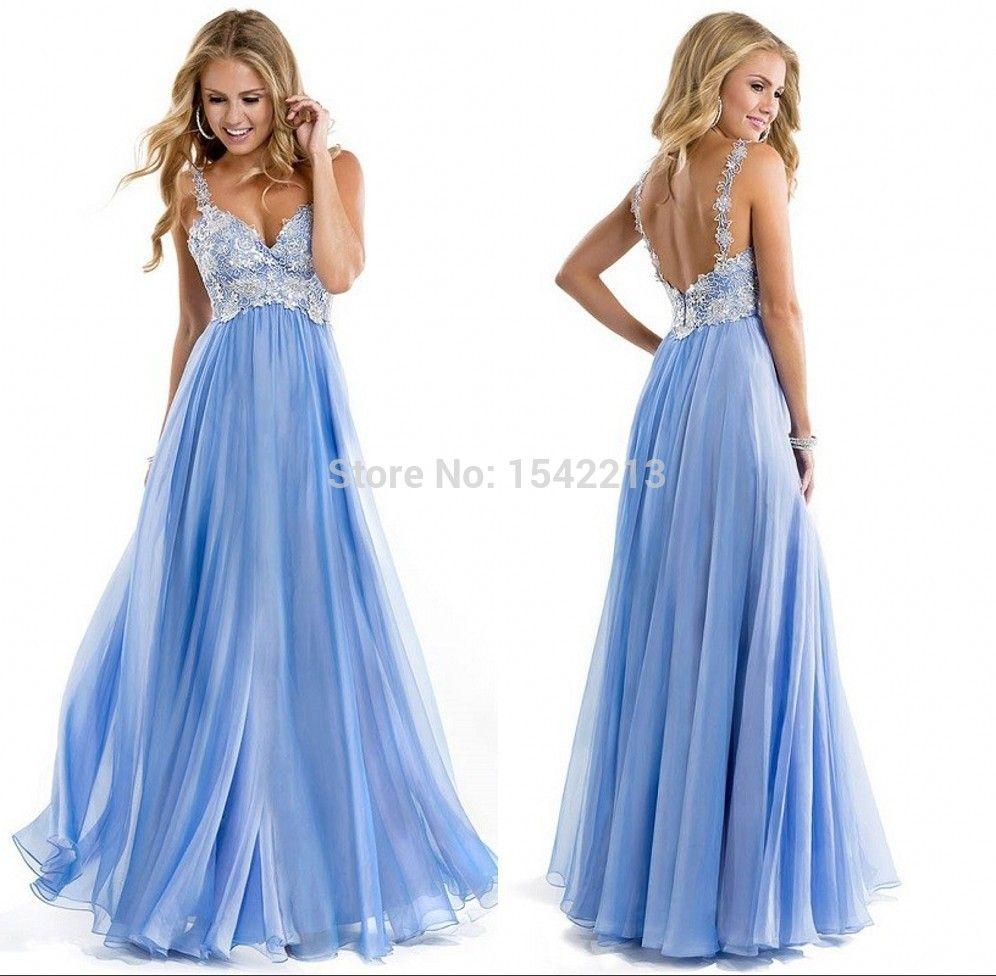 Resultado de imagen para prom dress light blue vneck | Prom | Pinterest