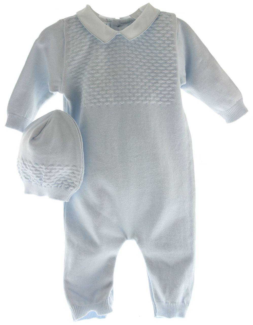 83cd8e83d Infant Boys Blue Knit Long Romper with Hat Layette Set