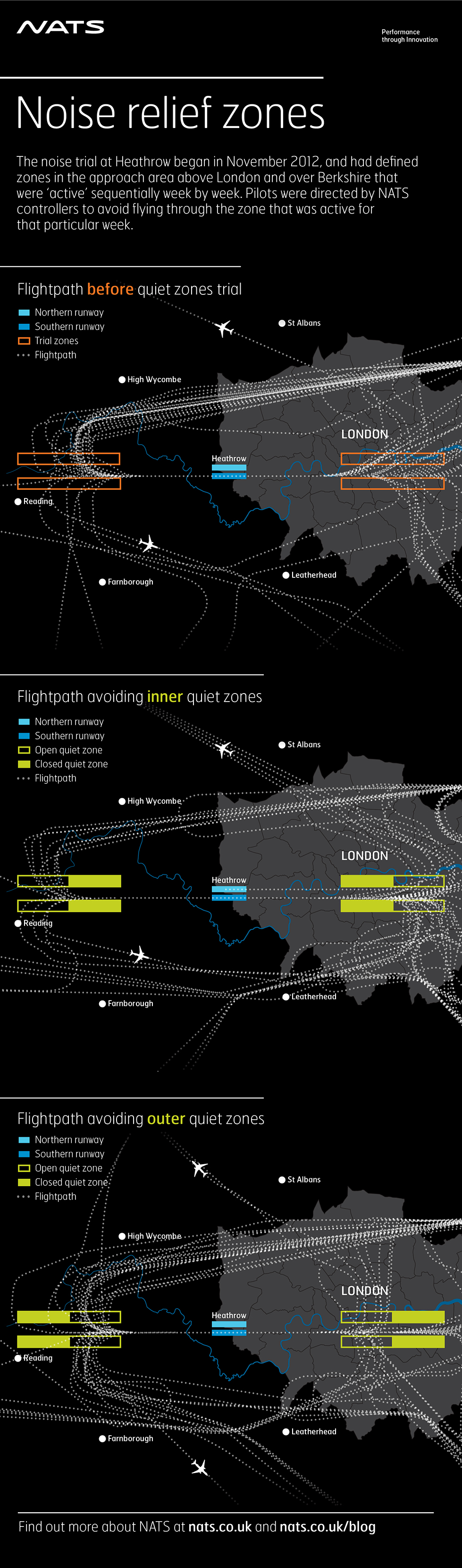 A 'Noise Relief Zones' infographic we created for NATS