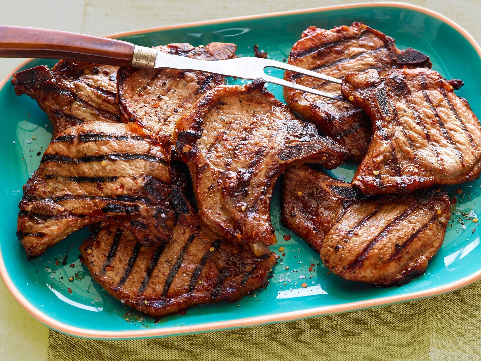 Easy Grilled Pork Chops : A Quick Marinade Of Honey, Oil, Vinegar, Cumin