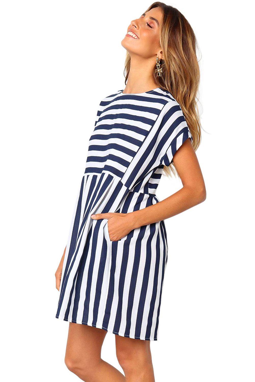Blue Striped O Neck Short Sleeve Regular Above Knee Mini Casual Dress Summer 27 98 Striped Dress Summer Striped Casual Dresses Mini Dress Casual [ 1500 x 1001 Pixel ]