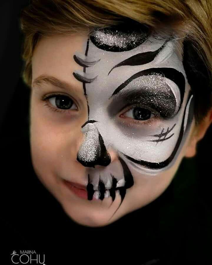Sparkly Halber Schadel Maquillaje De Superheroes Maquillaje De Fantasia Infantil Maquillaje De Cara De Halloween