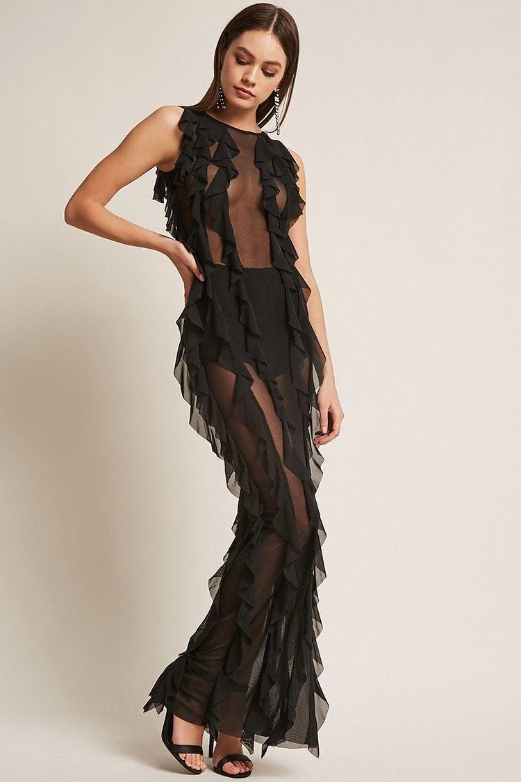 f5f6b645f00 Kikiriki Sheer Mesh Ruffle Maxi Dress