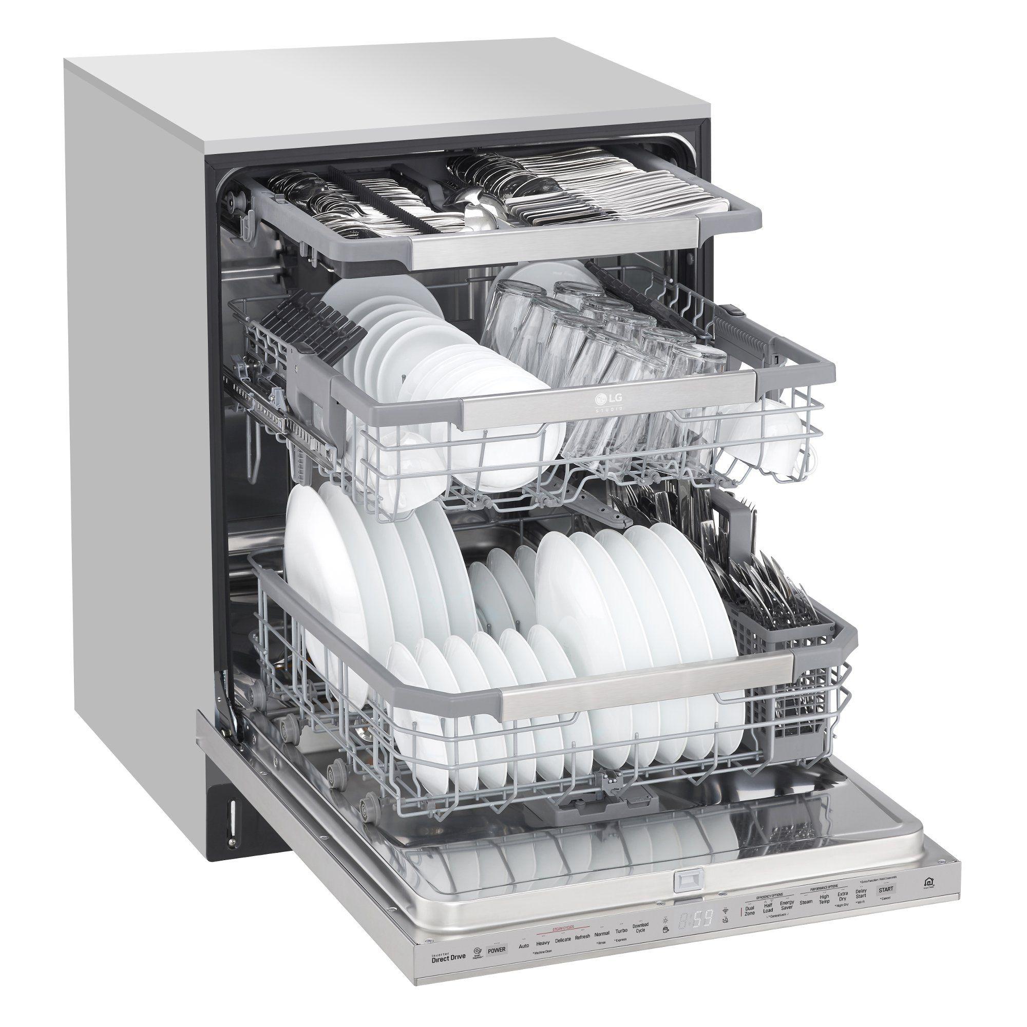 Lg Studio Smart Dishwasher Fingerprint Resistant Stainless Steel In 2021 Steel Tub Top Control Dishwasher Built In Dishwasher