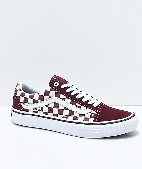 15629b157160 Vans Old Skool Pro Port Royal   White Checkered Skate Shoes