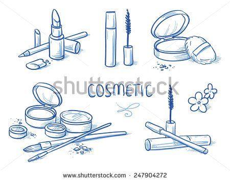 Icon item set cosmetic, beauty, with powder, eye shadow, brushes, mascara, lipstick. Hand drawn doodle vector illustration.