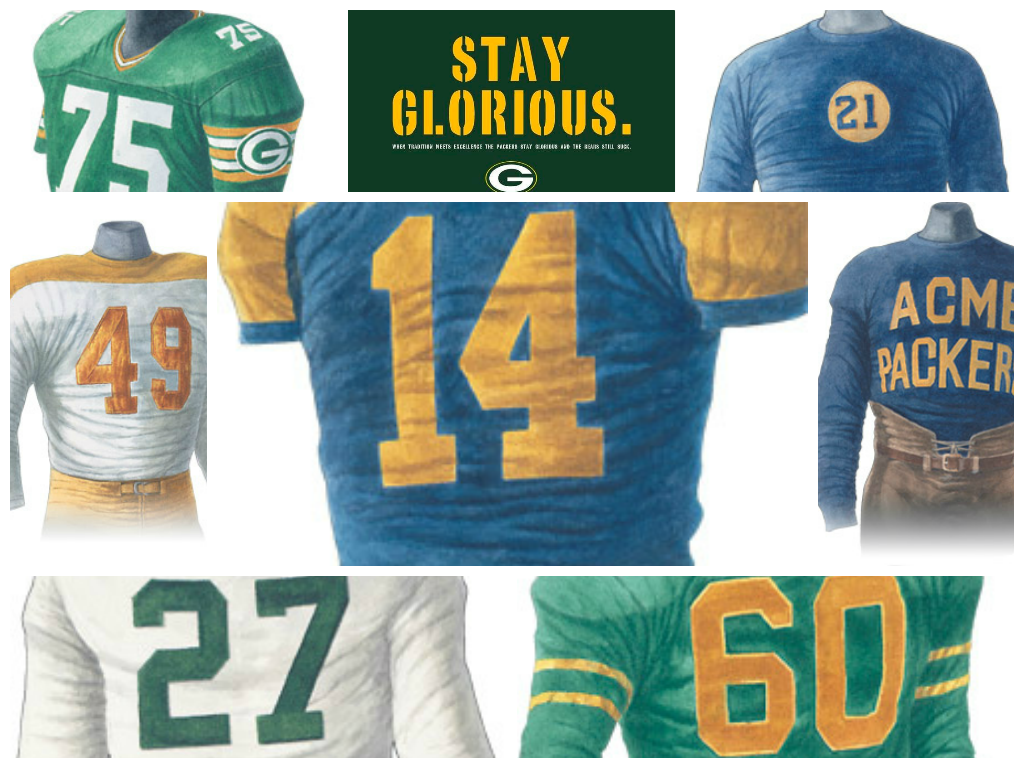 A Few Packer Uniforms Aren T They Beautiful Green Bay Packers Uniform Packers Green Bay Packers Vintage