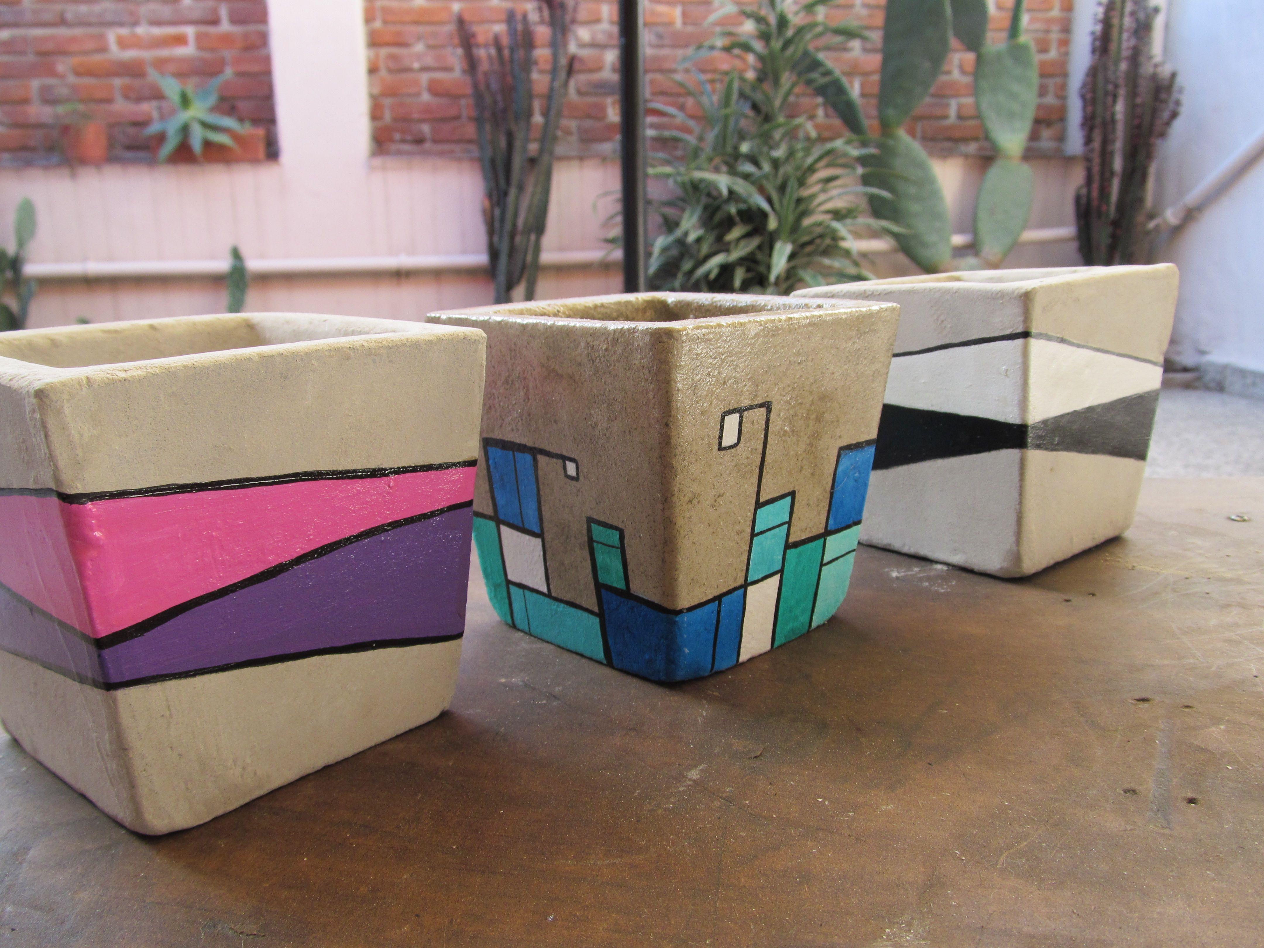 decoracion de macetas de cemento