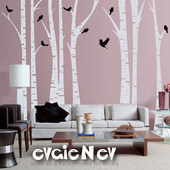 Cool Website With Reasonably Priced Wall Decalls. Birch Trees Wall Decal U2013  Forest With Birds U2013 Evgie   Would Be Good For A Rec Room.