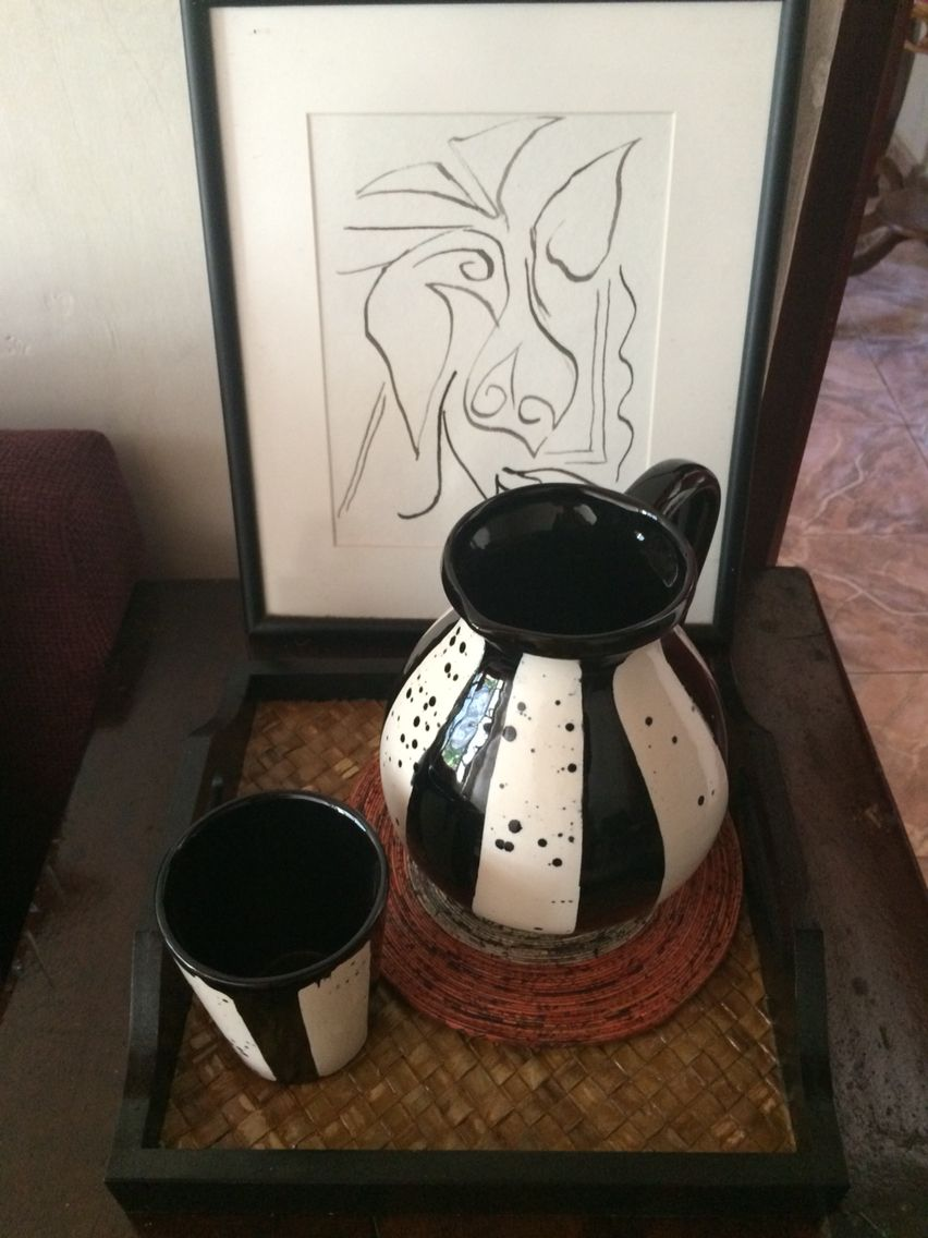 Black and white is back on the island and in my home! Art work courtesy of a friend for my 26th birthday and the pitcher and accompanying tumbler via paradise road found only in paradise island=sri Lanka