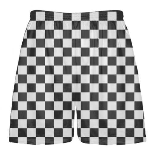 Red and Black Checkerboard Lacrosse Shorts