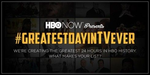 To pay tribute to some of the highlight moments of its original shows, HBO encouraged fans to share their all-time favourite viewing experiences across Twitter and Facebook using the dedicated hashtag #GreatestDayInTVEver. A few days after the call to action, on September 26, 2015, HBO released a 24-hour-long fan-generated playlist on its standalone streaming service HBO Now to present viewers with the greatest day in TV history. ...