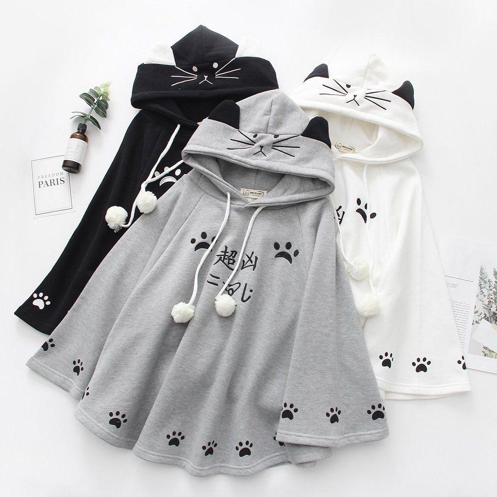 White/Grey/Black Kawaii Neko Paws Hoodie Poncho Cape K12965