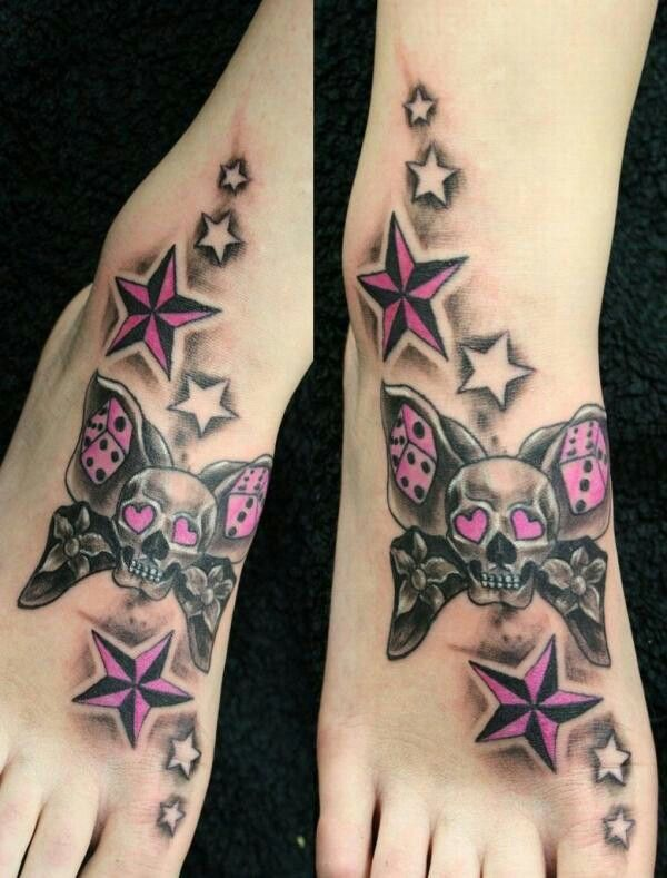 Sugar Skull Foot Star Tattoos Body Art Tattoos Star Tattoo Designs