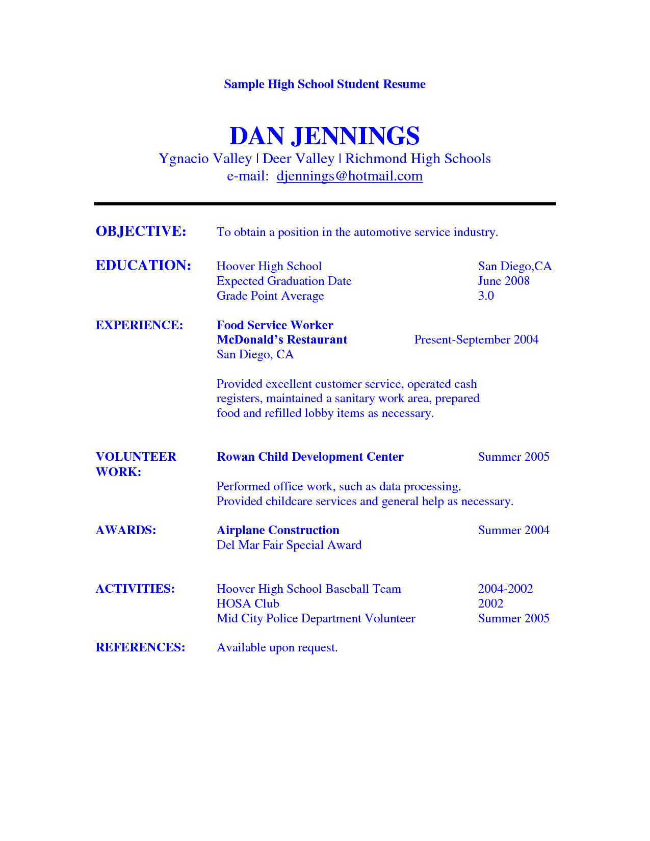 Student Resume Resume Example For High School Student Sample Resumes  Httpwww