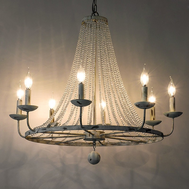 Pena Rustic Candle Shaped 6 Light 8 Light 12 Light Crystal Bead Strands Metal Wheel Chandelier Large Chandeliers Rustic Chandelier Candelabra Chandeliers