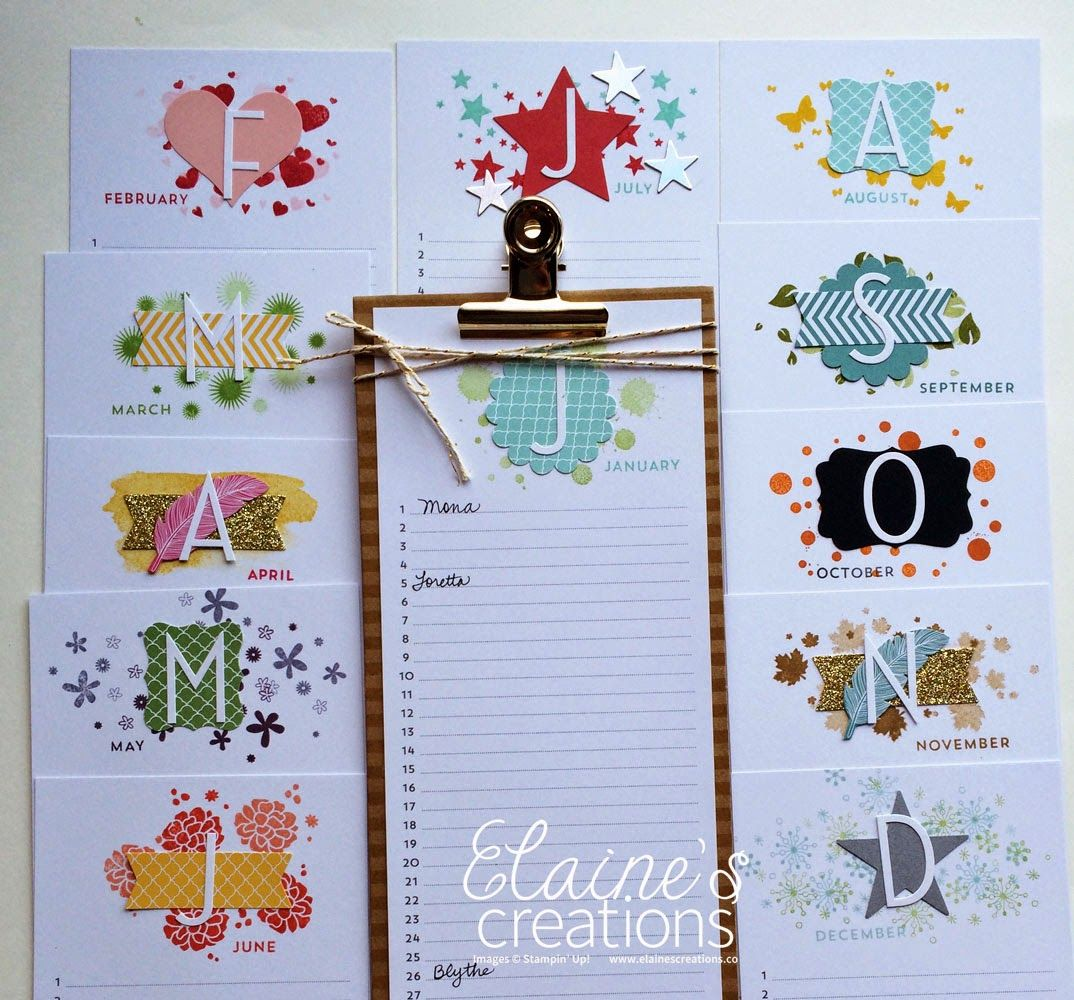Perpetual Birthday Calendar Stampin Up