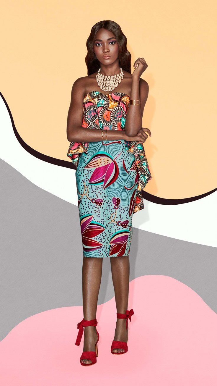 Feminine colours and flowing florals are framed in this hourglass dress which is perfect for all your cocktail parties.