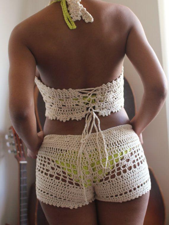 Bileya Hand Crochet Shorts Hot Pants - SHORTS & TOP SOLD Separately ...