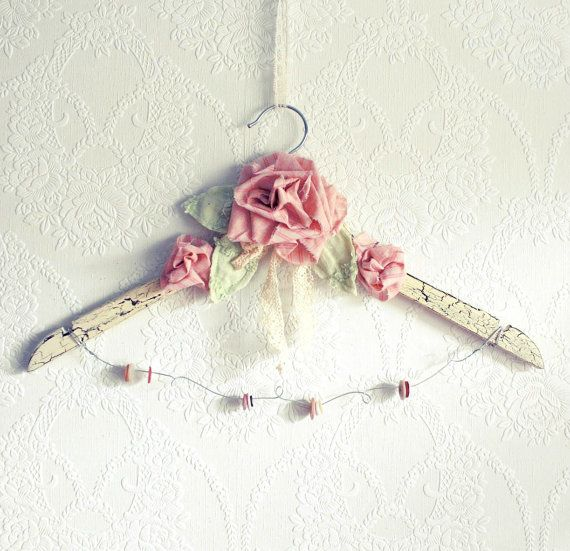 Shabby Chic Bridal Hanger Pink Roses Country Chic Wedding Dress Hanger Bride's Gift Cream Lace Vintage Style