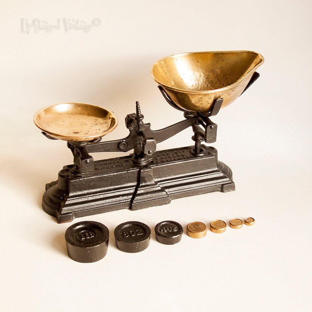 Vintage 1940s 50s Farrell Sons Bristol Cast Iron And Brass Kitchen Scales With Imperial Weights By Upstagedvintage On Et Brass Kitchen Kitchen Scale Vintage
