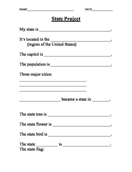 Pictures State Report Worksheet - Studioxcess