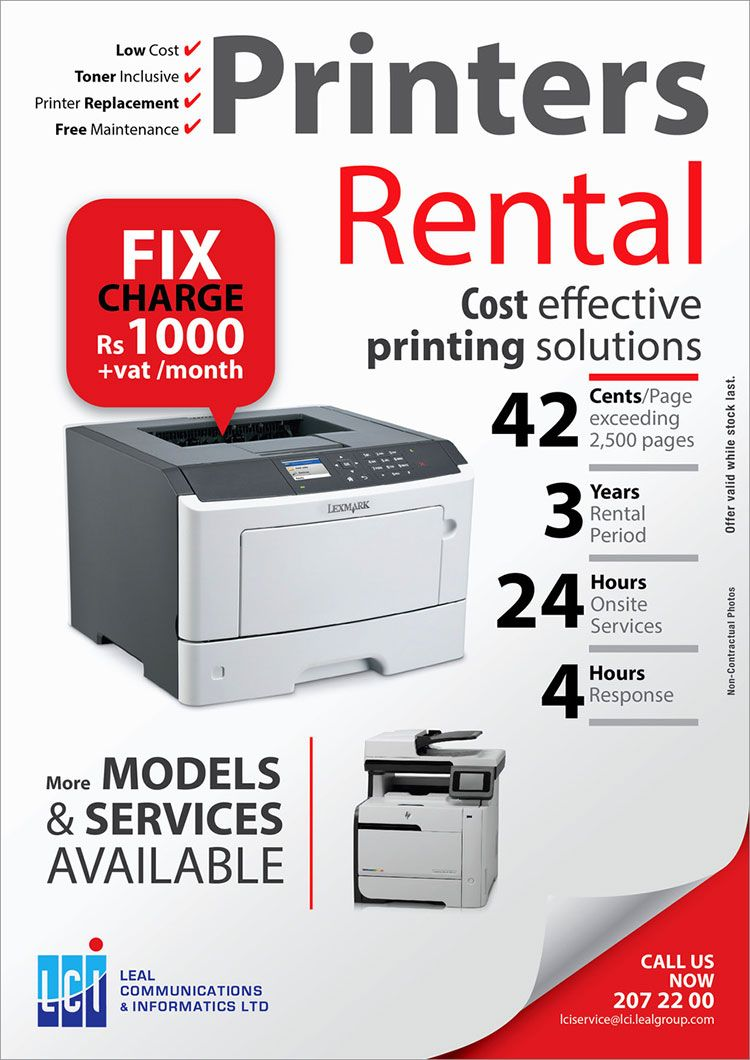 Technology Management Image: Low Cost Printer Rental Now