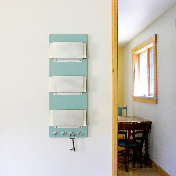 RUE: modern wall mounted 3 slot mail organizer with by PIGandFiSH - TRIPLE MAIL HOLDER: Wall Mount Family 3 Slot Mail Organizer
