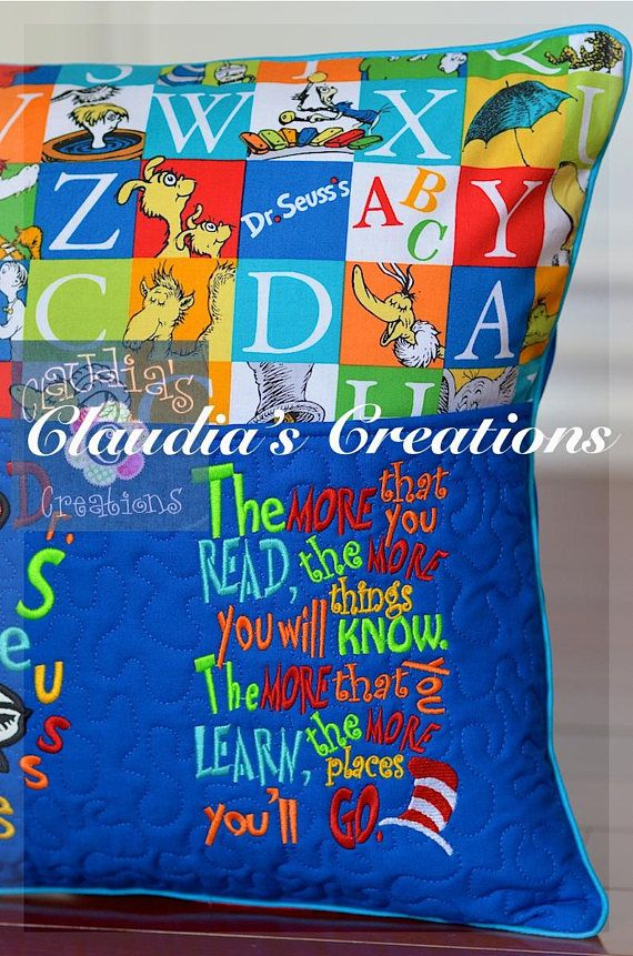 The more you read embroidery saying reading pillows