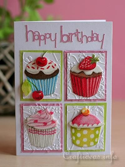 Happy Birthday Cupcakes Card Cards Birthday In 2018 Pinterest