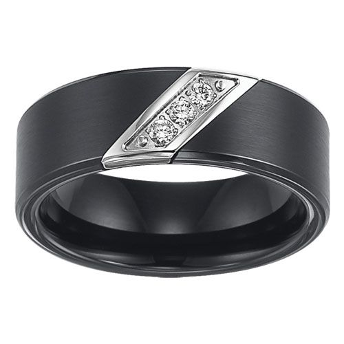 triton 8mm black tungsten carbide 3 diamonds ring. Black Bedroom Furniture Sets. Home Design Ideas