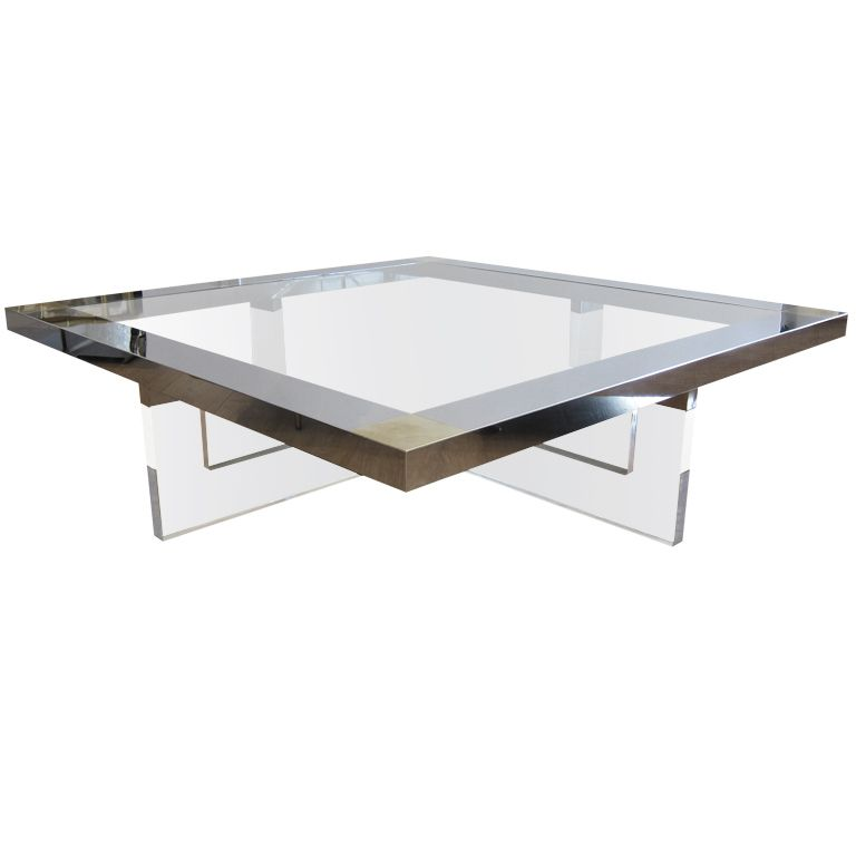 Large Lucite Chrome Brass Coffee Table From A Unique