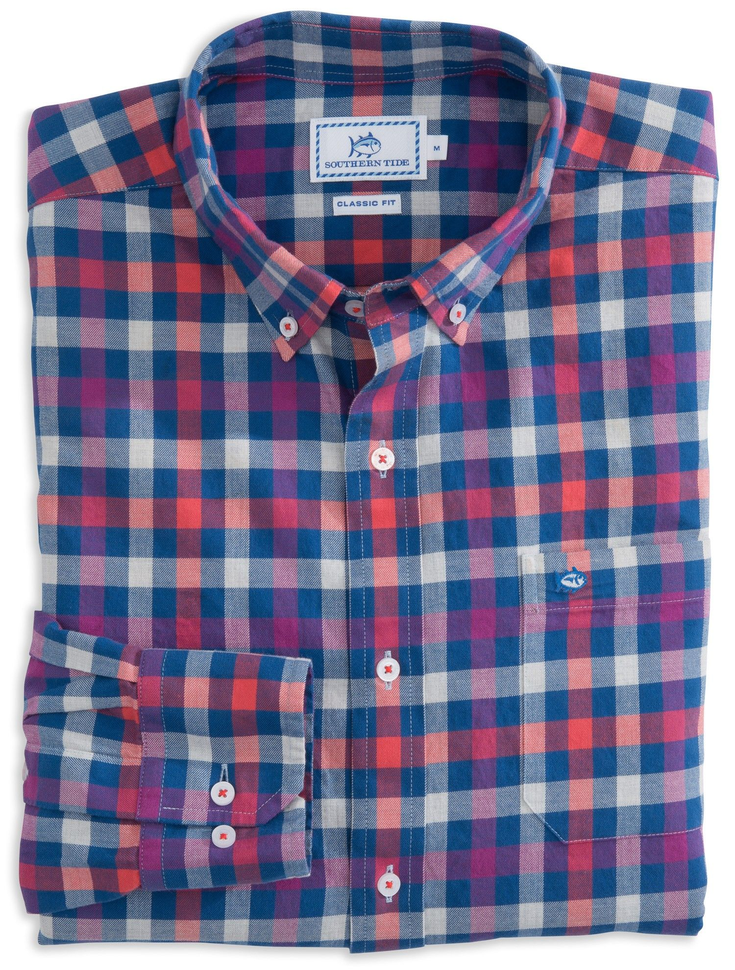 Southern Tide Blue Chip Checkered Button Down Shirt for Men ...
