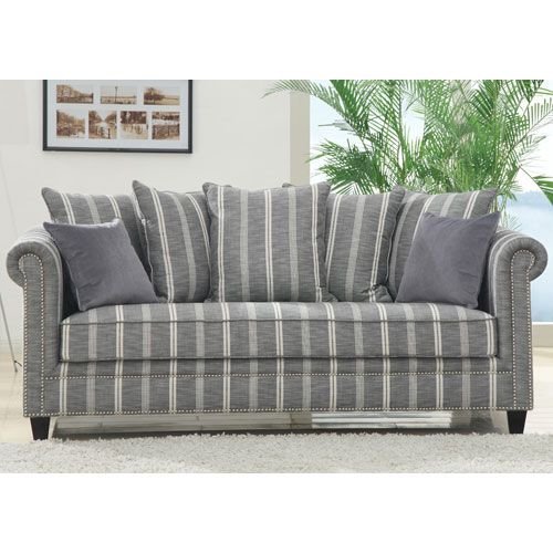 Grey Striped Loose Pillow Back Sofa With Two Pillows Emerald Home Furnishings Sofas 785 95 Bellacor