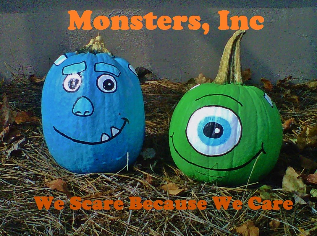 Monsters Inc painted pumpkins - Mike Wazowski & Sulley ...