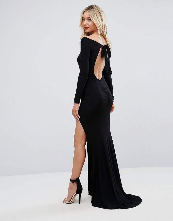 ASOS Long Sleeve Open Back Maxi Fishtail Dress | Asos long ...