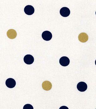 Keepsake Calico Cotton Fabric - Large Metallic Dot Navy Gold