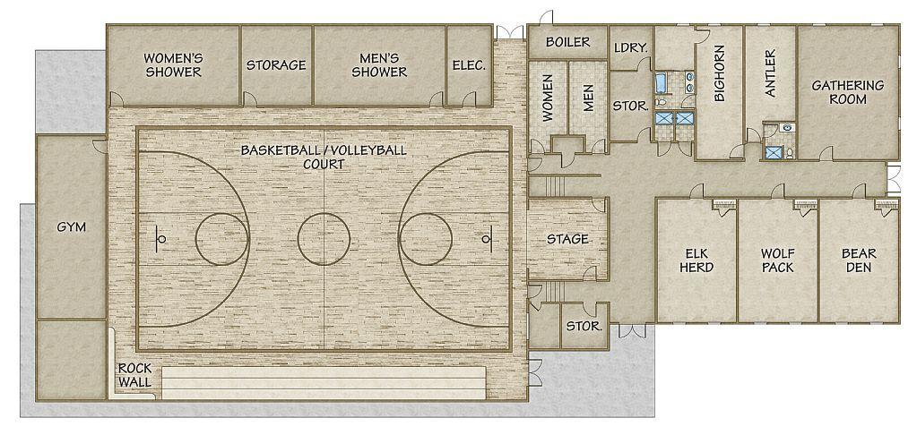 Basketball Court Floor Plan: Gymnasium Floor Plan ...