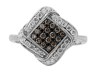 Fancy Brown White Diamond Sterling Silver Twist Ring (Online at Gemologica.com)