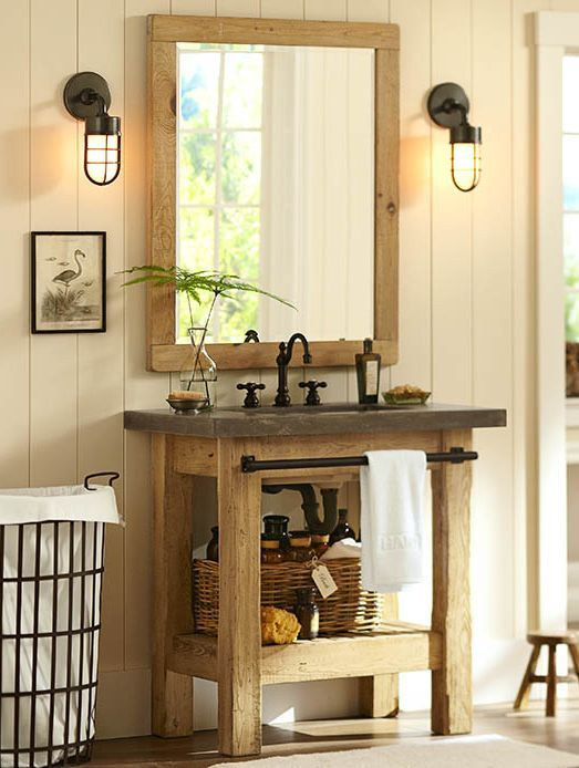 rugged and industrial look abbott sink console potterybarn