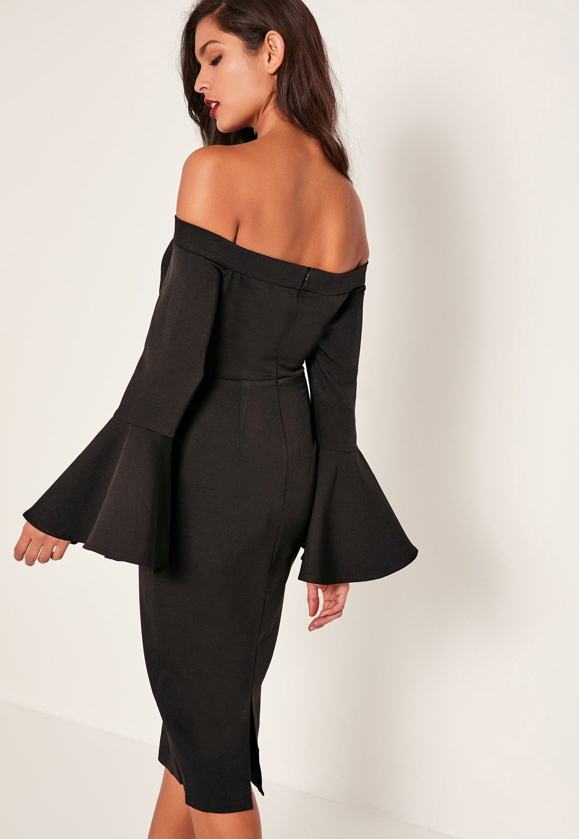 4b12ba82b702 Missguided - Black Bardot Frill Sleeve Tailored Midi Dress | Fashion ...
