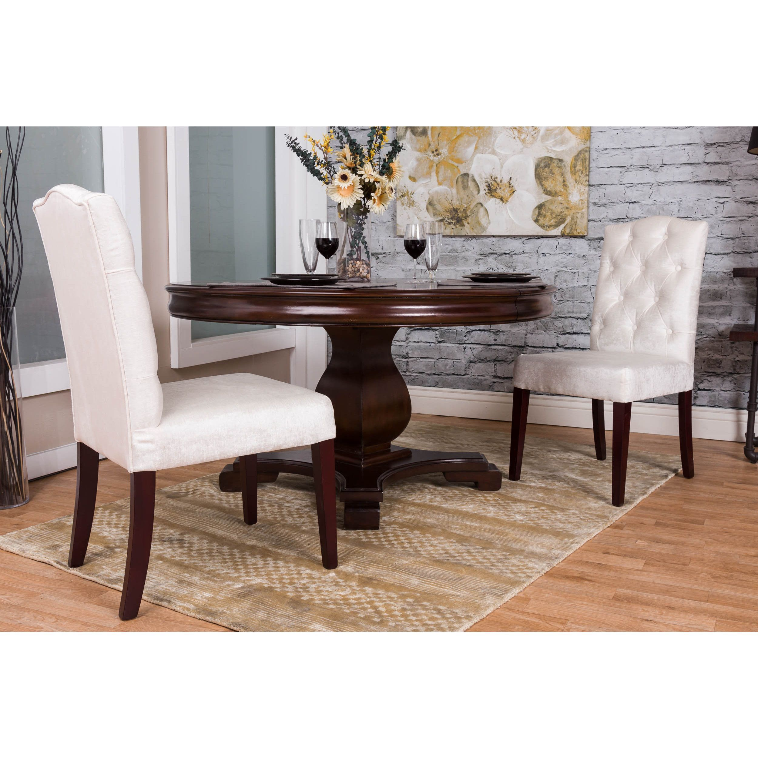 Somette Ivory Tufted Chenille Dining Chair Set of 2 Ivory Tufted