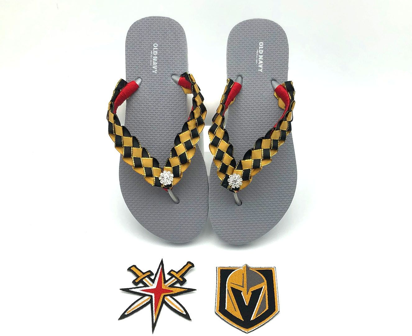 09b0620c5d81 Vegas Golden Knights Hockey inspired Custom Flip Flops - Silver Old Navy  Flip Flops by CrystalsByLola on Etsy